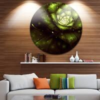 Designart 'Green Flower with Sun Rays' Floral Digital Art Disc Metal Wall Art