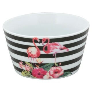 10 Strawberry Street The Goodies Flamingo Black and White Porcelain Bowls (Pack of 4)