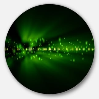 Designart 'Blurred Bright Green Lights' Landscape Photo Round Wall Art
