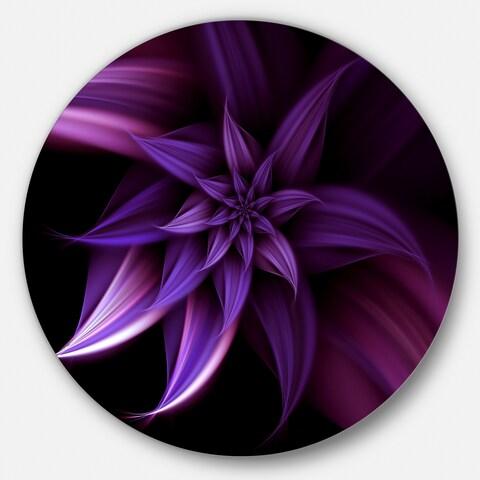 Designart 'Fractal Flower Purple' Floral Digital Art Circle Metal Artwork