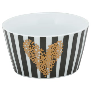 10 Strawberry Street Heart of Gold Black and White Porcelain 5.5-inch Striped Bowls (Pack of 4)