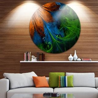 Designart 'Fractal Flower Orange and Blue' Floral Digital Art Circle Wall Art