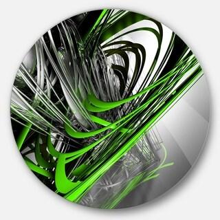 Designart 'Fractal 3D Green Silver Stripes' Abstract Art Round Wall Art