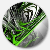 Designart 'Fractal 3D Green Silver Stripes' Abstract Art Round Wall Art
