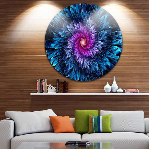 Designart 'Magical Glowing Fractal Flower' Floral Digital Art Large Disc Metal Wall art