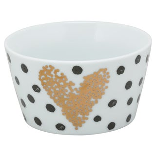 10 Strawberry Street Porcelain Heart of Gold Polkadot The Goodies Bowl (Set of 4)