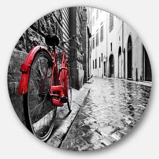Designart 'Retro Vintage Red Bike' Cityscape Photo Circle Wall Art