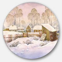 Designart 'Old Winter Village' Landscape Watercolor Round Metal Wall Art