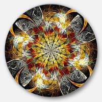 Designart 'Symmetrical Golden Flower' Floral Digital Art Disc Metal Artwork