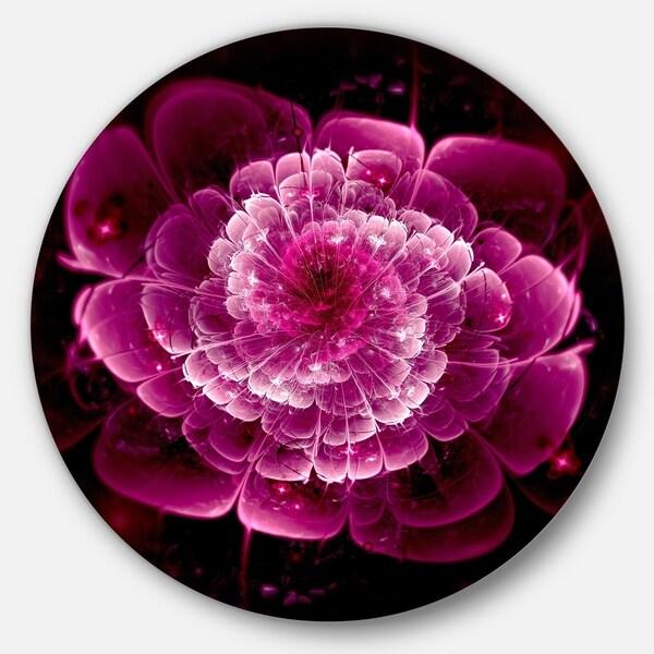 Designart 'Fractal Flower Dark Pink' Floral Digital Art Circle Wall Art (As Is Item). Opens flyout.