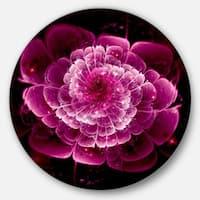 Designart 'Fractal Flower Dark Pink' Floral Digital Art Circle Wall Art
