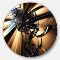 Designart 'Fractal 3D Dark Brown Tangle' Abstract Art Disc Metal Artwork