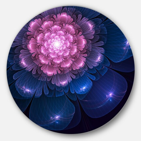 Designart 'Fractal Flower Pink and Blue' Floral Digital Art Disc Metal Artwork
