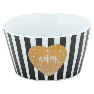 Black, White and Gold Porcelain Wifey The Goodies Bowl (Pack of 4)