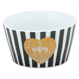 10 Strawberry Street Black, White and Gold Porcelain Wifey The Goodies Bowl (Pack of 4)