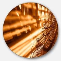 Designart 'Fractal 3D Brown Bold Tangle' Abstract Art Round Metal Wall Art