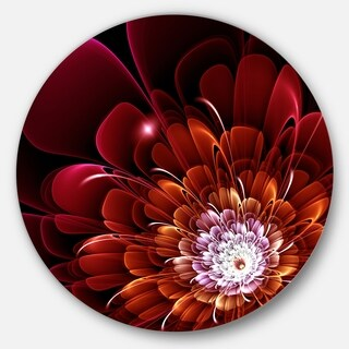 Designart 'Fractal Red and Yellow Flower' Floral Digital Art Round Metal Wall Art