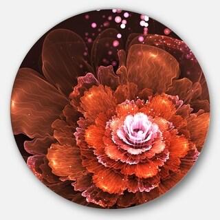 Designart 'Fractal Orange Flower' Floral Digital Art Large Disc Metal Wall art
