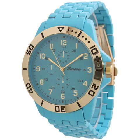 Olivia Pratt Women's Ceramic Style Basket Link Faux Chronograph Watch One Size