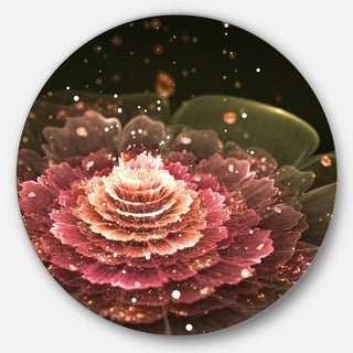 Designart 'Fractal Abstract Pink Flower' Floral Digital Art Disc Metal Wall Art
