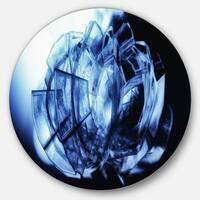 Designart 'Fractal 3D Blue Glass Pattern' Abstract Art Disc Metal Wall Art