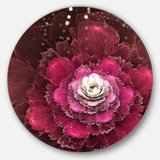 Designart 'Fractal Red Rose Flower' Floral Digital Art Disc Metal Artwork