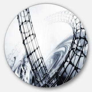 Designart 'Fractal 3D Black White Design' Abstract Art Disc Metal Artwork