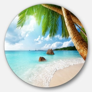 Designart 'Praslin Island Seychelles Beach' Seashore Photo Disc Metal Wall Art
