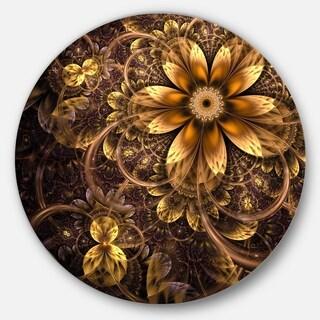 Designart 'Fractal Dark Yellow Flower' Floral Digital Art Round Metal Wall Art