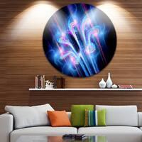 Designart 'Blue Fractal Flower in Space' Floral Digital Art Large Disc Metal Wall art