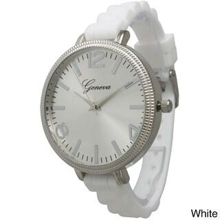 Olivia Pratt Women's Sleek Ridged Bezel Skinny Silicone Strap Watch One Size