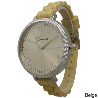 Olivia Pratt Women's Sleek Ridged Bezel Skinny Silicone Strap Watch One Size (2 options available)