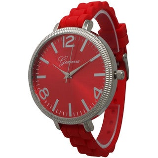 Olivia Pratt Women's Sleek Ridged Bezel Skinny Silicone Strap Watch One Size