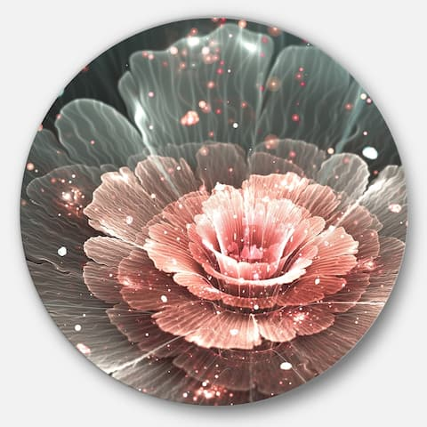 Designart 'Abstract Fractal Pink Gray Flower' Floral Digital Art Disc Metal Wall Art