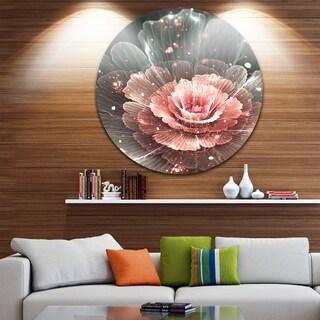 Designart 'Abstract Fractal Pink Gray Flower' Floral Digital Art Disc Metal Wall Art