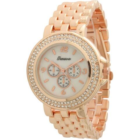 Olivia Pratt Women's Faux Chronograph Basket Link Bracelet Watch One Size