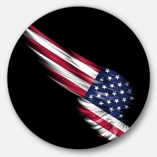 Designart 'Wing with American Flag' Digital Art Disc Metal Wall Art