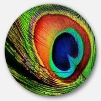 Designart 'Peacock Feather' Photography Circle Wall Art