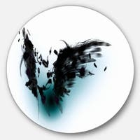 Designart 'Black Wings' Abstract Digital Art Round Metal Wall Art