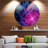 Designart 'Fractal Purple Rose Flower' Floral Digital Art Disc Metal Wall Art