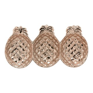 10 Strawberry Street Rose Gold Ceramic Pineapple 3-section Platter