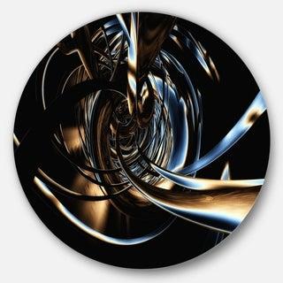 Designart 'Fractal 3D Tangled Stripes' Abstract Art Round Metal Wall Art
