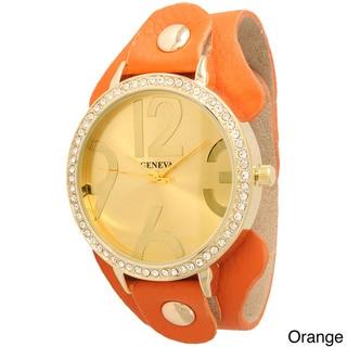 Olivia Pratt Women's Large Hour Marker Wide Leather Strap Watch