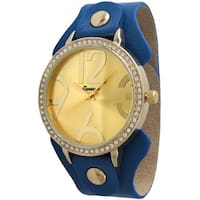 Olivia Pratt Women's Large Hour Marker Wide Leather Strap Watch