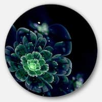 Designart 'Green Abstract Fractal Flower' Floral Digital Art Circle Wall Art