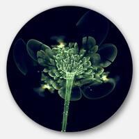 Designart 'Green Fractal Flower in Air' Floral Digital Art Round Metal Wall Art