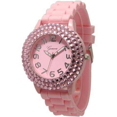 Olivia Pratt Women's Sleek Bedazzled Silicone Watch