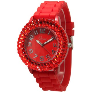 Olivia Pratt Women's Sleek Bedazzled Silicone Watch (3 options available)