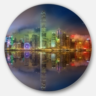 Designart 'Hong Kong Panoramic View' Seascape Photo Disc Metal Wall Art