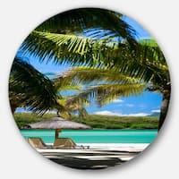 Designart 'Tropical Paradise' Beach and Shore Photo Round Metal Wall Art